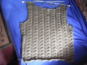 Pullover front, in progress