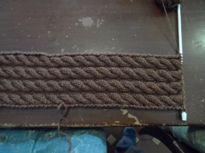 Simple Cable Scarf in progress